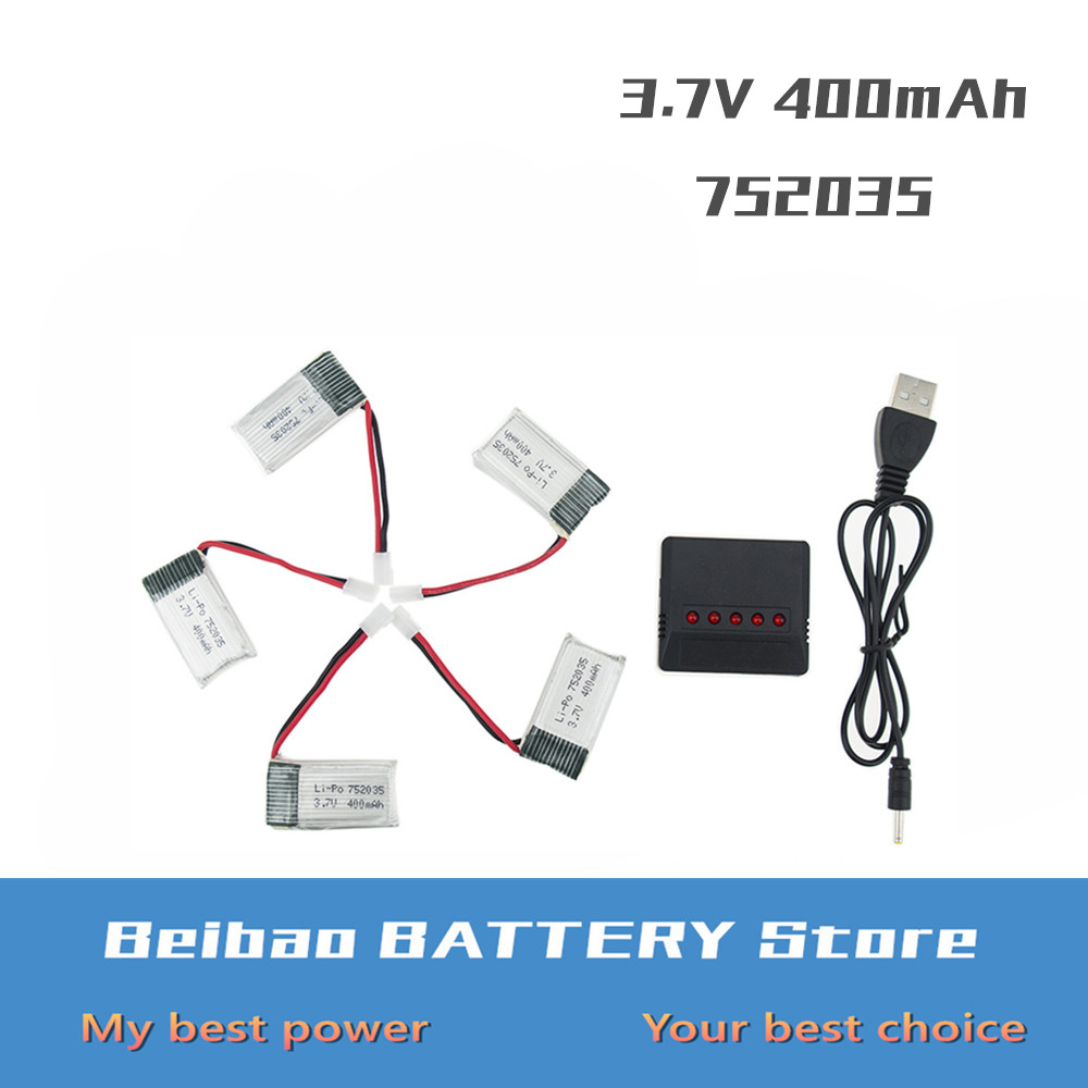 5 pcs <font><b>3.7V</b></font> <font><b>400mah</b></font> <font><b>battery</b></font> with x5 charger EU plug For Eachine H99W RC H31 H98 RC Quadcopter Drone Spare Parts 752035 image
