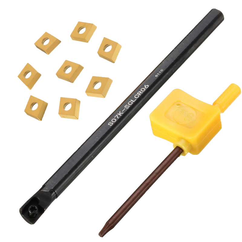 High Quality Wholesale Price 7x125MM S07K-SCLCR06 Tool Holder +8PCS CCMT0602 + 1Wrench Lathe Turning Tool Boring Bar New Design best price mgehr1212 2 slot cutter external grooving tool holder turning tool no insert hot sale brand new