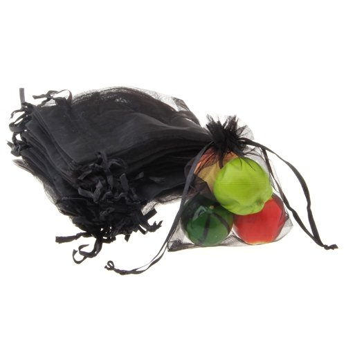 T Best Price 60 X Organza Drawstring Jewellery Gift Bag Pouch Black HOT
