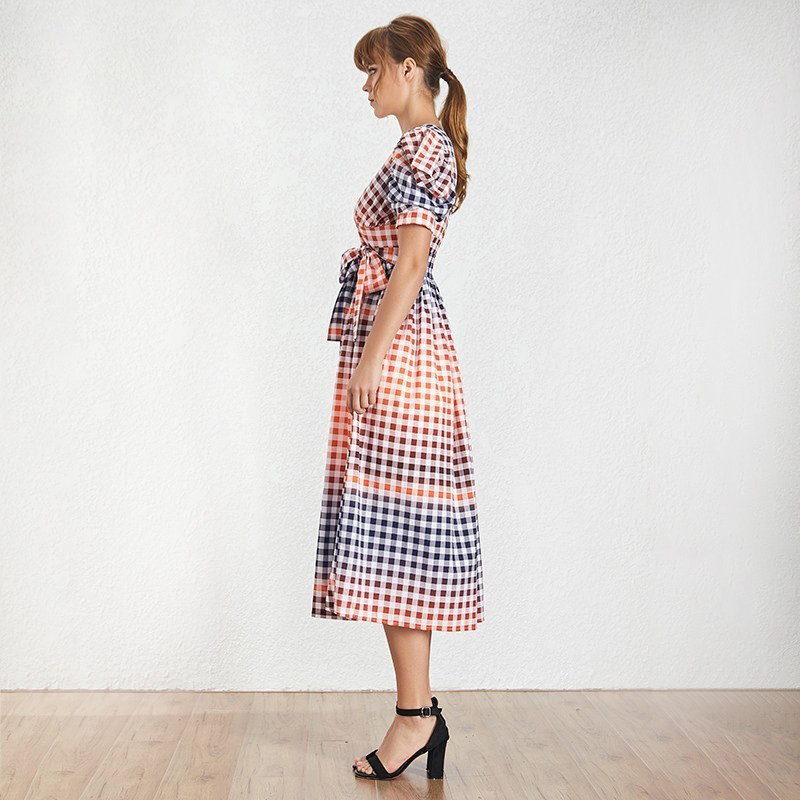 TWOTWINSTYLE-Casual-Hit-Color-Women-Dress-V-Neck-Puff-Sleeve-High-Waist-Lace-Up-Plaid-Long (1)