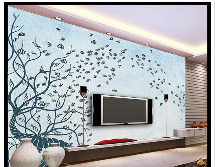 Customized 3d Wallpaper 3d Wall Murals Hand Painted Mediterranean Fish TV  Setting Wall Beauty Home Decoration