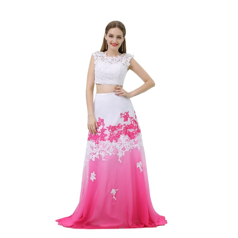 Fashion Two piece Prom dress Lace Appliques with Beading Contrast ...