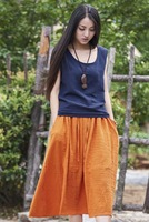 Long Skrits Solid Color High Waist Skirts Women Cotton Linen A Line Maxi Skirts Casual Vintage