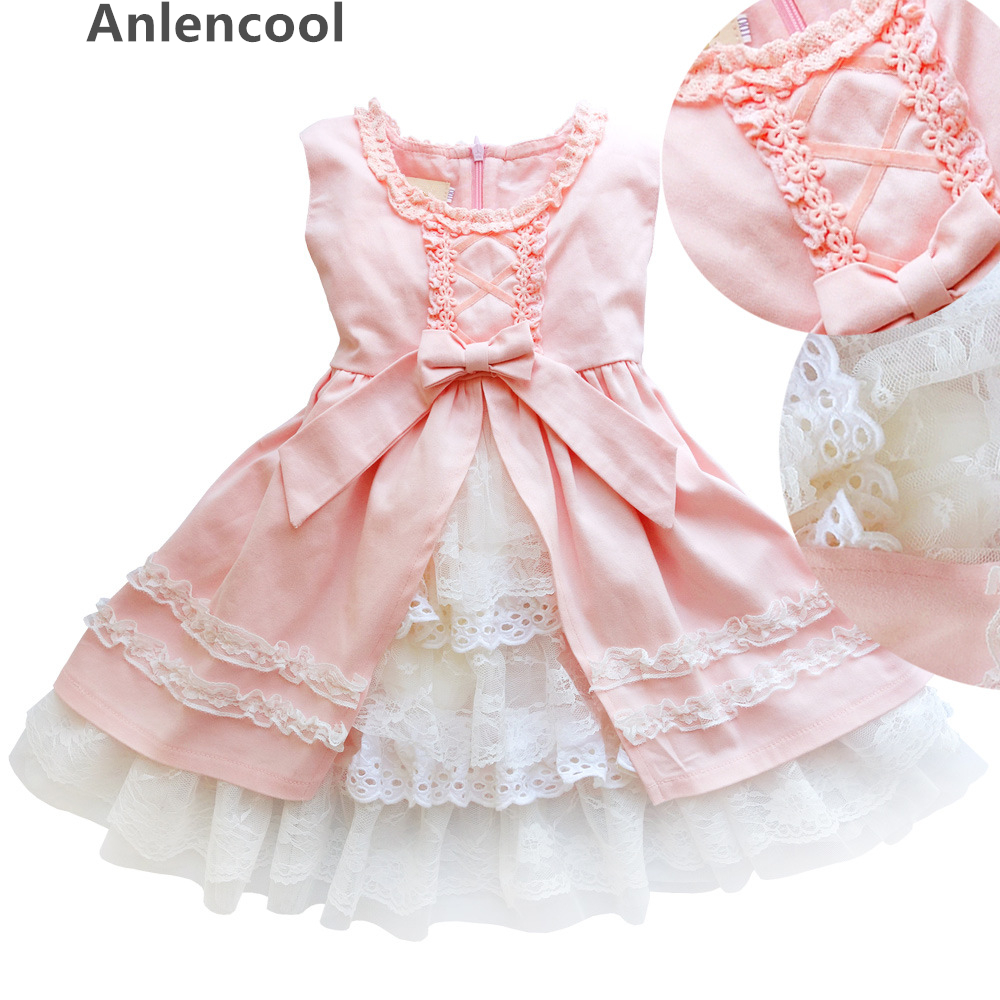 ФОТО Anlencool 2017 New Spring Baby Girl Cotton Dresses Sleeveless Beautiful Flower Baby Kids Clothing Lace girls dresses