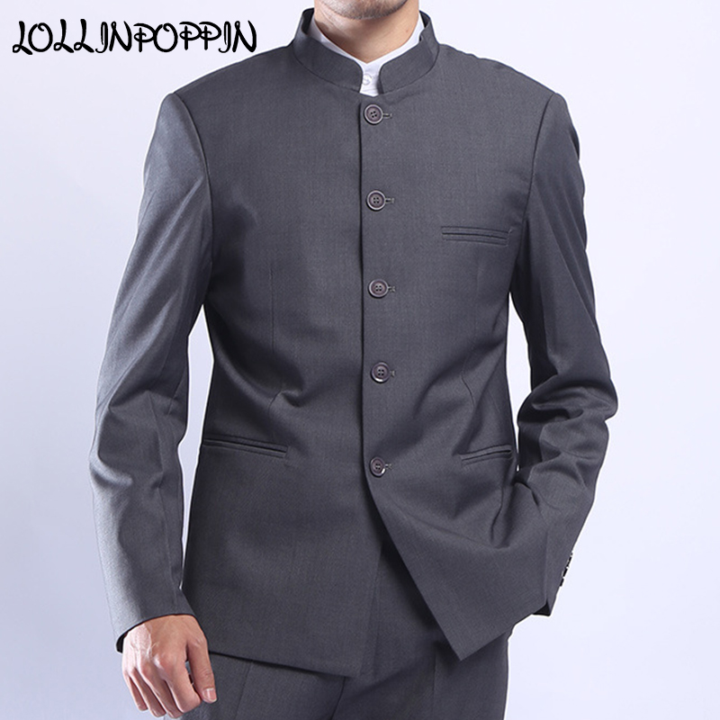 Men Gray Tunic Suit Jacket Mandarin Collar Single Breasted Chinese Traditional Stand Collar Grey Tunic Jacket Uniform Jacket
