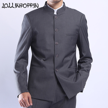 Men Gray Tunic Suit Jacket Mandarin Collar Single Breasted Chinese Traditional Stand Collar Grey Tunic Jacket Uniform Jacket Men's Suit Jackets