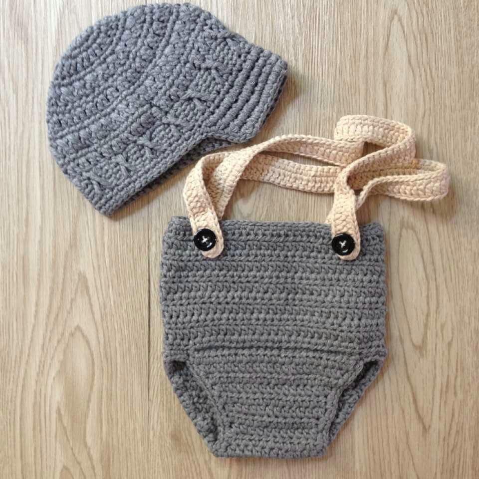 Gentleman boy hat Handmade Crochet Newborn Baby Boy Beret Hat Knitted Hat  Diaper Cover Set baby photography props baby hats on Aliexpress.com  58db5bb5485