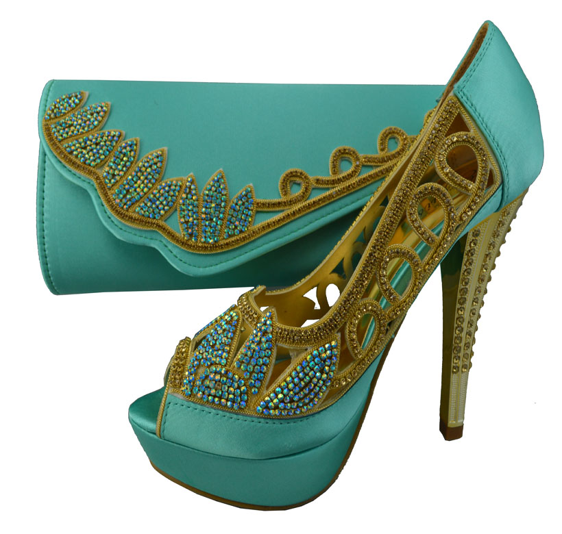 Water Green Matching Shoes and Bag Set African Italian ...
