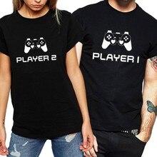 Женская футболка на заказ с модным принтом 1 игрок 2 парные футболки с коротким рукавом сексуальные рубашки Милая женская одежда для влюбленных