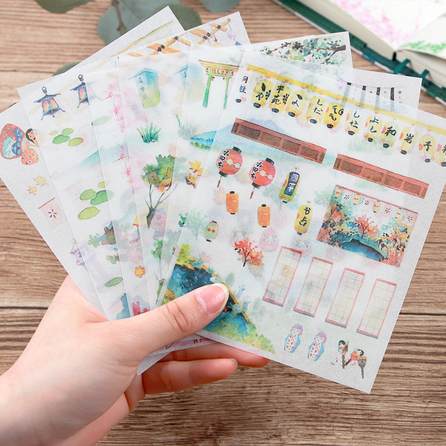 6 Sheets Cute Japanese Style Watercolor Paiting Smooth