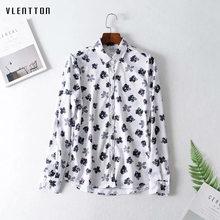 2019 Vintage Chiffon Flower Print Women's Shirts Top Button Turn-down Collar Long sleeve White Tops and Blouses Chemisier Femme