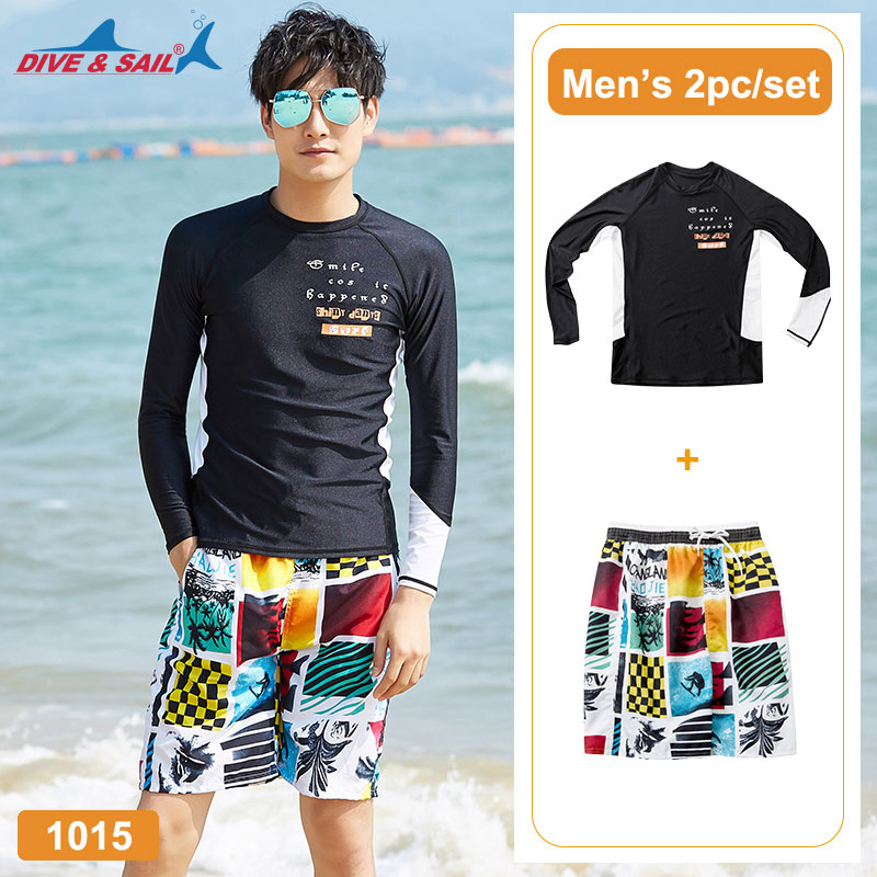 Rash Guard Obliging Mens Rash Guards Rashguard For Men Compression & Base Layer Shirt+trunks Set Of 2 Piece Sun Uv Protection Wetsuit Dive Skin Swim To Be Renowned Both At Home And Abroad For Exquisite Workmanship Skillful Knitting And Elegant Design Water Sports