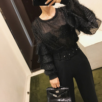 Tumblr Top Polyester Full Ruffles Solid O neck Butterfly Sleeve Blusa 2018 New Women Shirt Sleeve Princess Bottoming Female