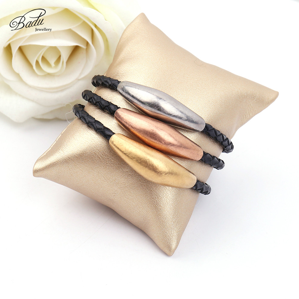 Badu zlata ogrlica iz nerjavečega jekla punk črna pletena usnjena - Modni nakit - Fotografija 4