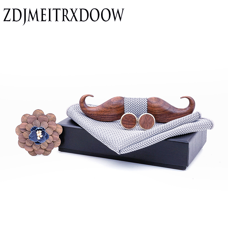 3D Black Walnut Beard  Wooden Bowtie For Mens Wedding Papillon Corbatas Printed Wood Bow Tie Handkerchief Set For Mens Suit