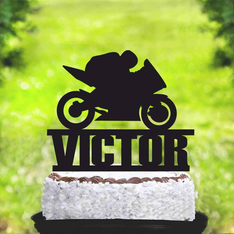 Admirable Motor Cycle Cake Topper Motocross Theme Birthday Party Sports Birthday Cards Printable Trancafe Filternl