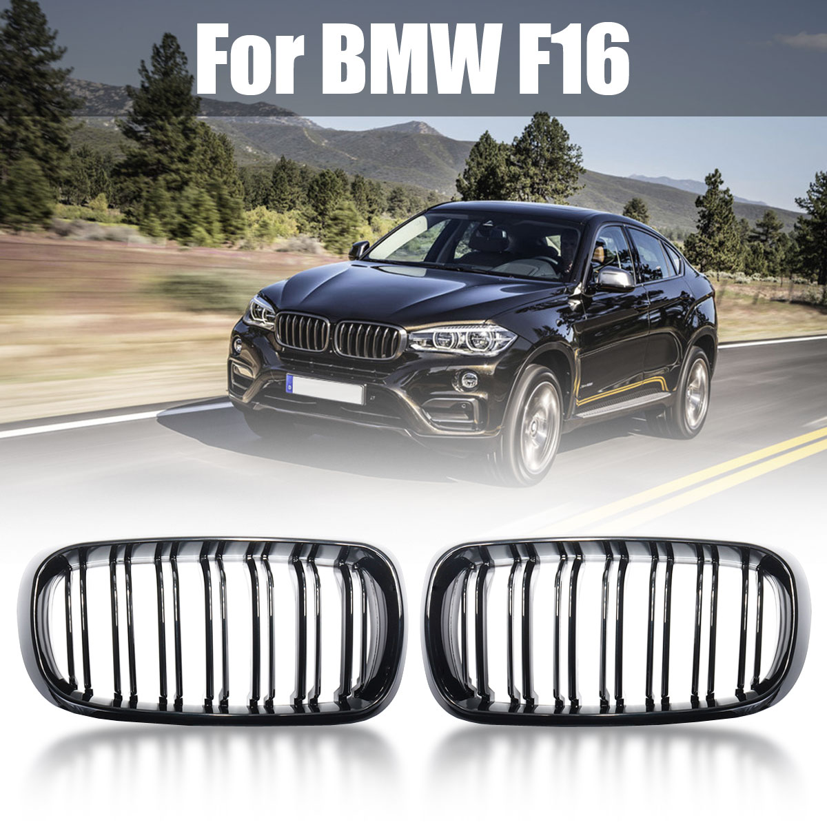1 Pair New ABS Replacement Gloss Black Double Slat Front Grill Grille For BMW F15 F16 X5 X6 2014 2015 2016 2018 With Ru Stock цена 2017