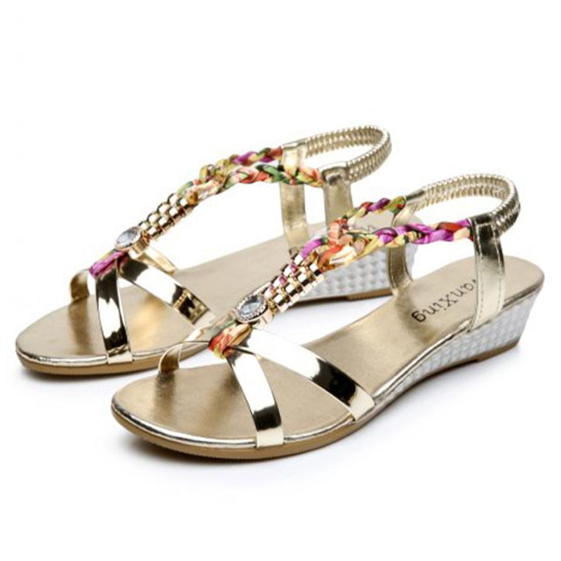 Shoes Woman Slippers Flat-Sandals Rhinestone Comfortable Fashion Summer Casual A0515