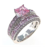 Luxury Wholesale Size 5 6 7 8 9 10 Luxury Trendy 10kt White Gold Filled Pink