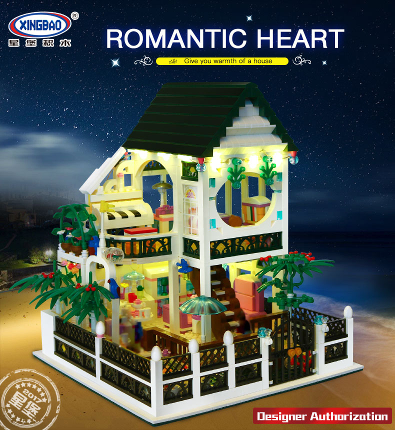 XingBao 01202 1500Pcs the New Romantic Heart Set with Light USB Building Block Bricks Educational Toy as Valentines Day presentXingBao 01202 1500Pcs the New Romantic Heart Set with Light USB Building Block Bricks Educational Toy as Valentines Day present