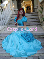 Ariel Vestido Azul Traje de a Pequena Sereia Princesa Ariel Cosplay Feitos Halloween Traje Da Princesa