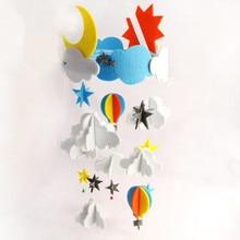 DIY Craft Cloud Moon Sky Aeolian Bells Handmade Baby Bed Ornaments Felt Aeolian Bells Kit Wall Hanging Decor Felt Toy Craft Kit