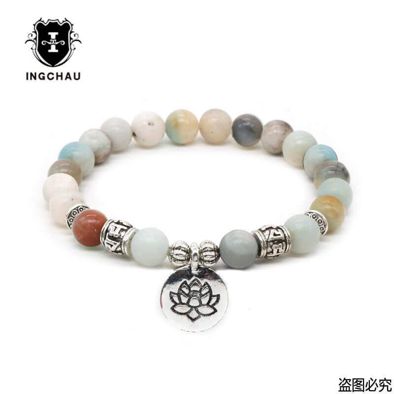 Tibetan Buddha Lotus Bracelet Men Prayer Bead Six Words Mantra Amazonite Bracelets Mala Yoga Jewelry Women Drop Shipping BD-16