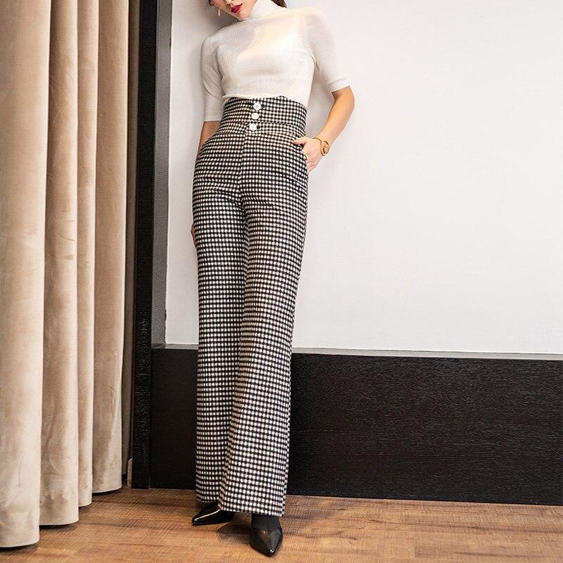 D'automne 2018 Et Haute Pantalon Large Nouvelle As Carreaux Vertical Femelle En Femmes D'hiver Streetwear Vêtements Taille Bas Laine Longs À Shown Pantalons x0S0Iq