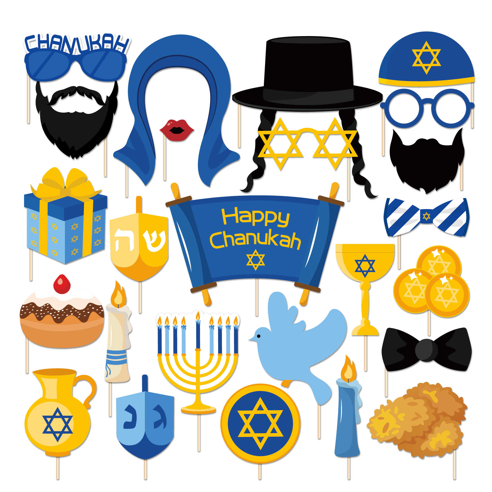 25pcs Happy Hanukkah Party Decorations DIY Photobooth Props Chanukah Theme Paper Cards Photobooth Props Party Favors Supplies
