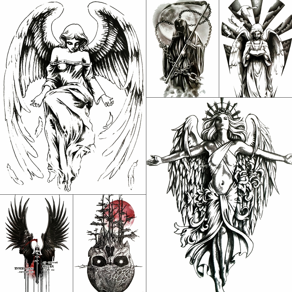 Black Angel Wings Temporary Tattoos For Women Girls Body Art ARm Fake Waterproof Tattoo Paper God Death Skull Totem Tatoos