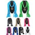2016 Women  Pendant Scarf Alloy Peacock Pendant Polyester Tassel Scarves Necklace for Women