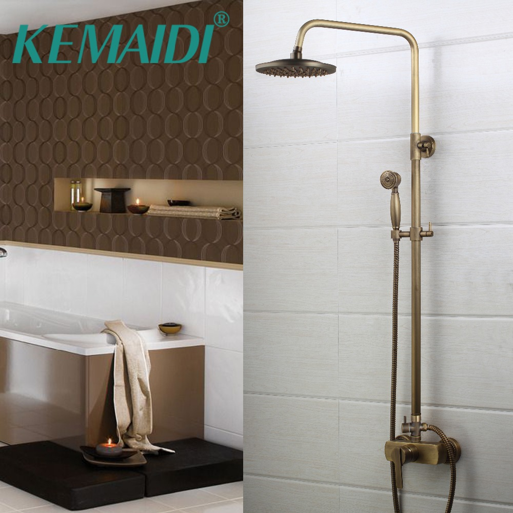 Bathroom Shower Sets Retro Style Shower Faucet Set Single Handle With Handheld Shower Mixer Taps Wall Mount Antique Bathroom Bath Shower Mixer Faucet