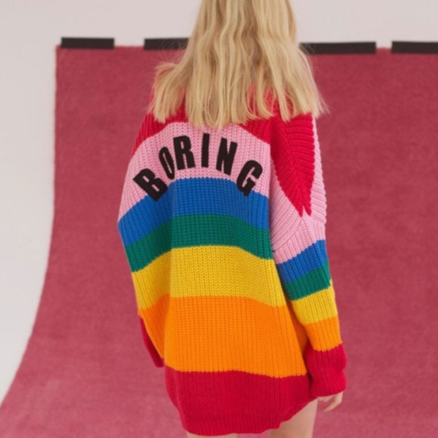 Women Rainbow Striped Sweater Crocheted Jacket Embroidery Letters