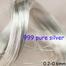 S9999 Silber Draht DIY Hand-Made Zubehör Wicklung Draht Material Sterling Seide 1 mt Reine Solide 999 Sterling Silber draht