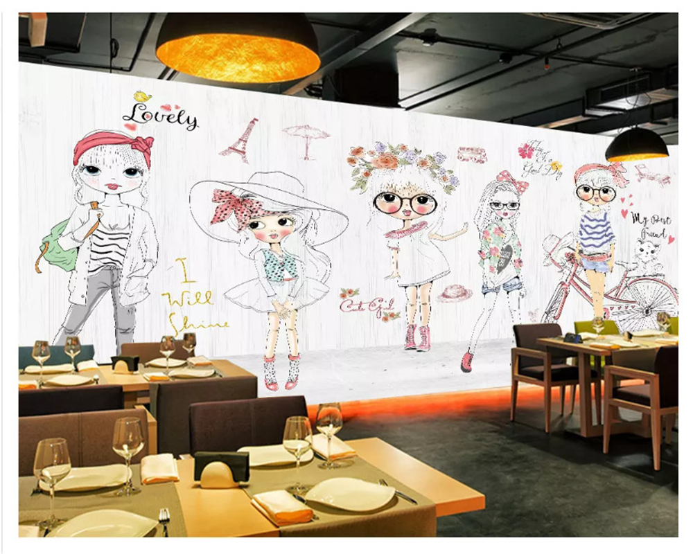 beibehang Modern fashion personality beauty hand painted children girl fashion show clothing store papel de parede 3d wallpaper in Wallpapers from Home Improvement