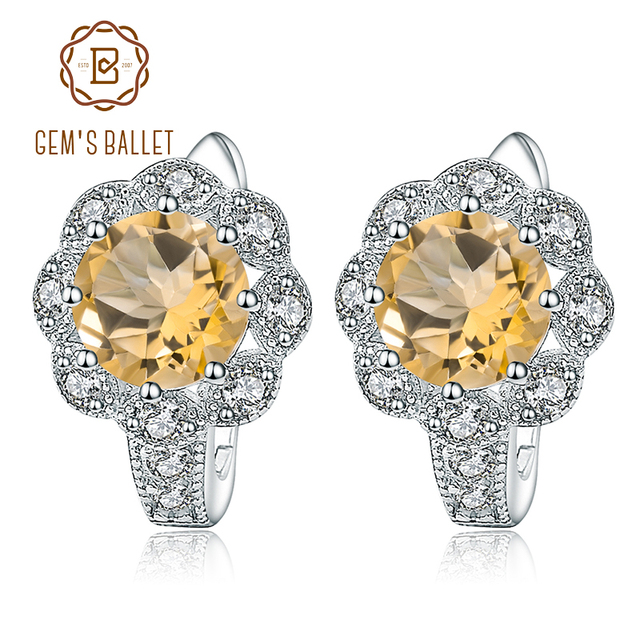 GEM'S BALLET 925 Sterling Silver Stud Earrings 2.71Ct Natural Citrine Gemstone Engagement Earrings for Women Fine Jewelry