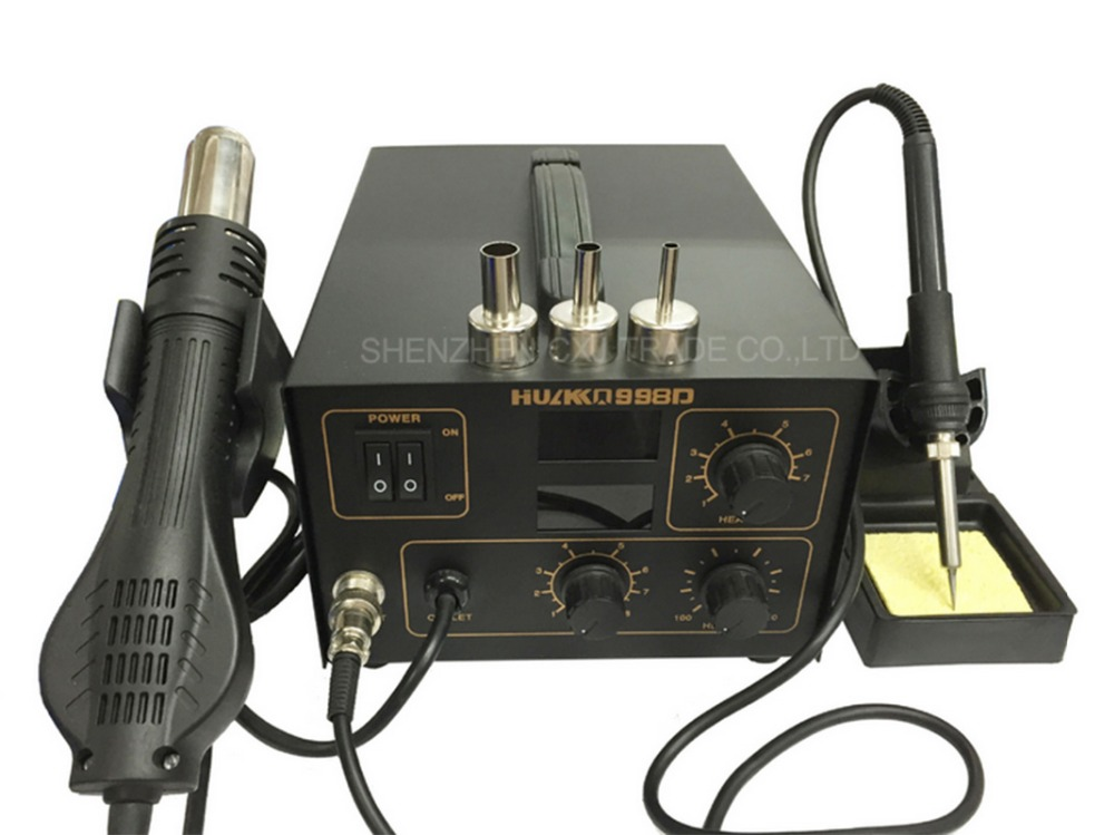 220V Dual heat gun soldering station 998D Hot Air Rework Soldering Iron Station Welder + Hot Air Gun + Nozzles image