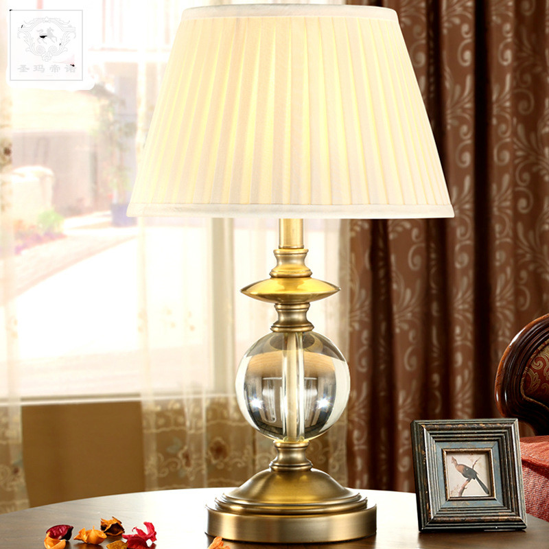 Bedroom Lamps Made In Usa: High End America Country Classical K9 Crystal Fabric E27