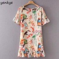 Sweet Women Birds Floral Printed Summer Dress O Neck Short Sleeve A Line Ruffle Short Dress