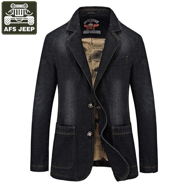 AFS JEEP Brand 2017 Denim Jacket Men Single Breasted Turn-down Collar Jeans Coat Male jaqueta masculina Man Jacket veste homme new afs jeep brand autumn and winter man jeans men pants straight cotton male denim brand jeans more pocket overalls