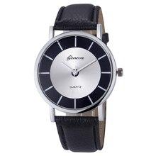 2017 Women Geneva Watch Casual Sports Clock Quartz Wristwatches Mens Retro Leather Analog Big Dial Watches Relogio Feminino #N