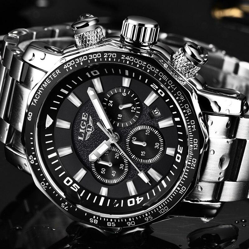 LIGE hommes montre Top marque de luxe mode Quartz horloge hommes d'affaires étanche grand cadran militaire Sport montres Relogio Masculino