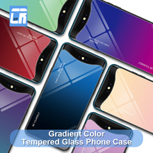 Blue Ray Aurora Skin Gradient Color Tempered Glass Phone Case for OPPO P17 Pro R15X R19 Back Cover Find X F11 Coque