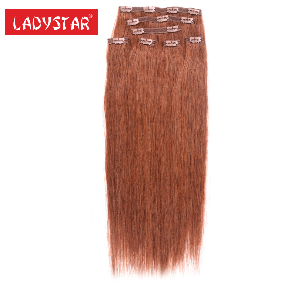 "LADYSTAR 22"" inch Clip in 100% Remy Human Hair Extensions Platinum Quality Long Soft Silky Straight for Women Fashion 120g ,#30(China)"