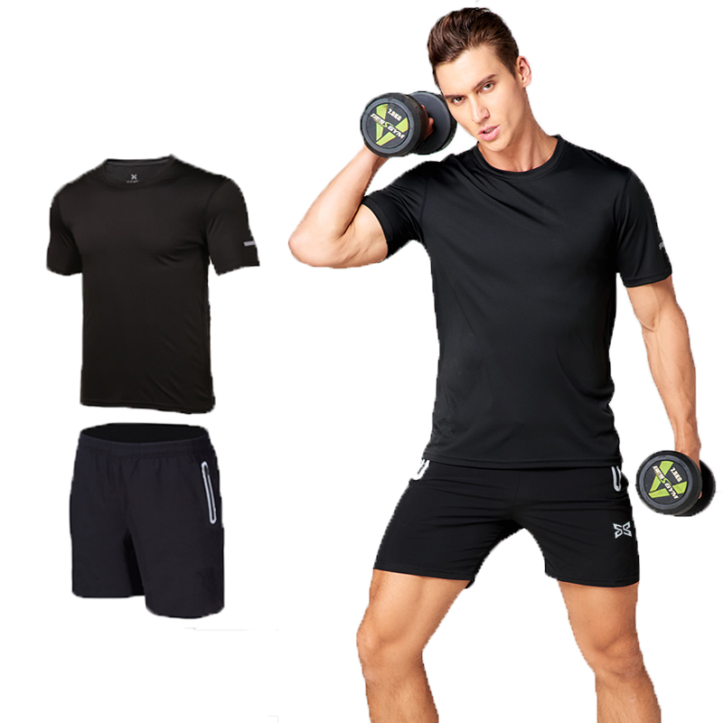 Fitness Suit 2pcs Male Quick Dry Short Sleeved Woven Shorts Breathable Shirt  Suits Summer  Wear Loose  Sets