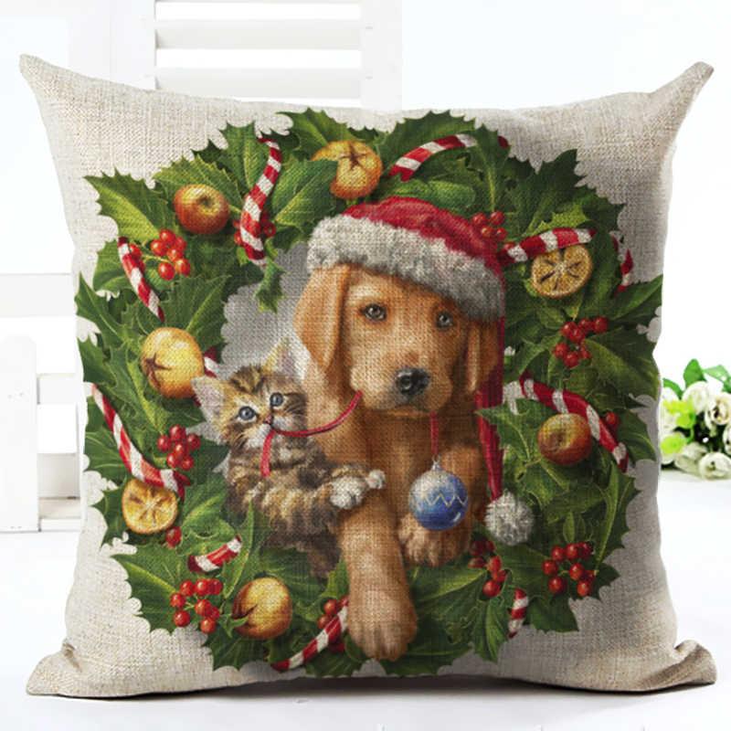 ที่มีคุณภาพสูงการ์ตูนสไตล์น่ารักสุนัขและแมวเบาะตกแต่งCojinesที่นั่งโยนหมอนพิมพ์ผ้าฝ้ายผ้าลินินสแควร์