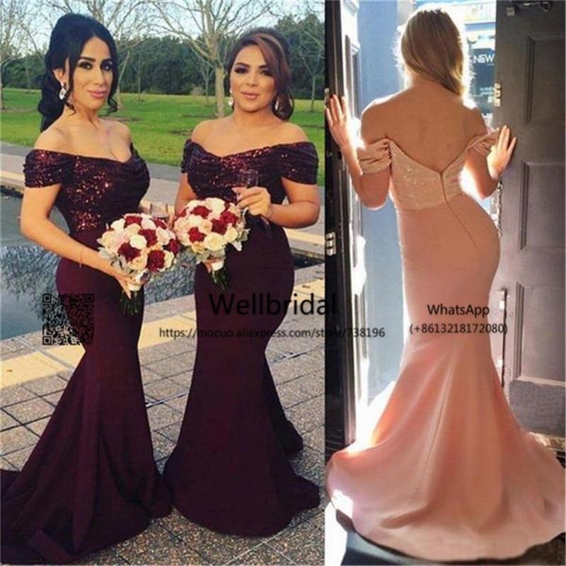 2017 Fashion Mermaid   Bridesmaid     Dresses   Long Sequined Floor Length V-Neck Wedding Party   Dress   Chiffon Formal   bridesmaid     dress