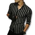 2016 M-5XL Hombres Duros Estilo Despojado Camisas de Los Hombres de Moda Casual Slim Fit de Tres Cuartos de Longitud de La Manga Camisas de Los Hombres Camisa Masculina