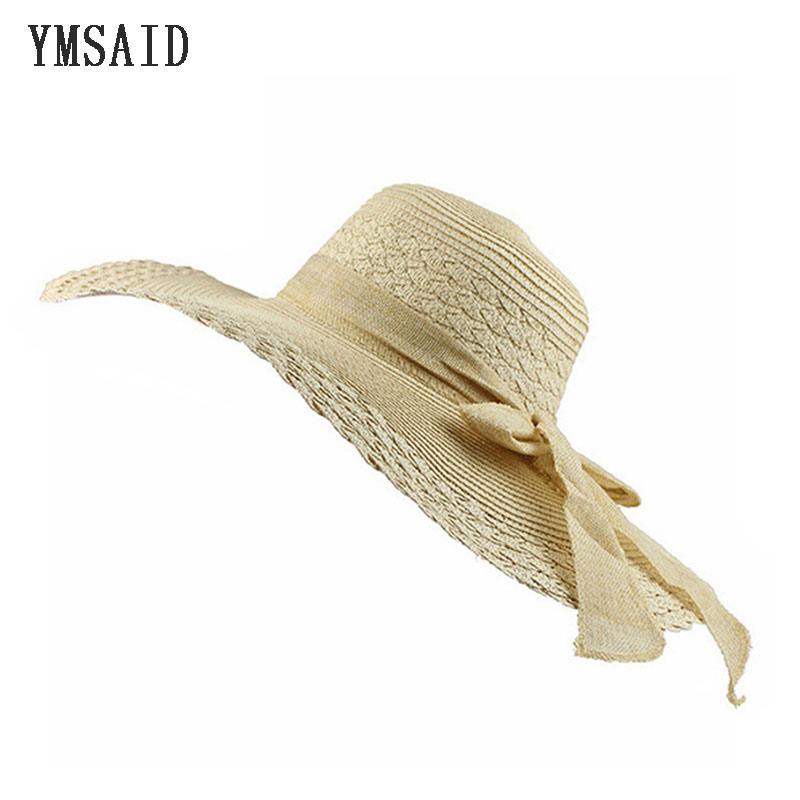 Wholesale And Retail Fashion Women Wide Large Brim Floppy Summer Beach Straw Cap bow Butterfly Bow Sunscreen Sun Hat