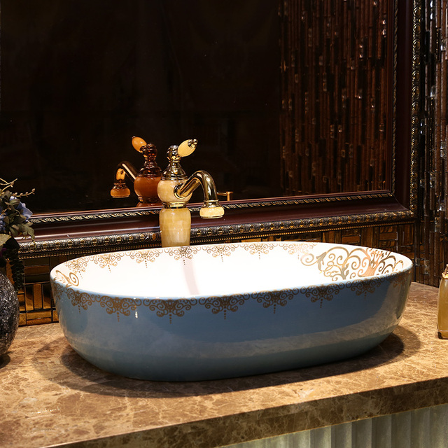 Oval China Künstlerische Handarbeit Kunst waschbecken Keramik ...